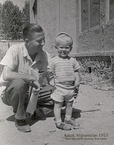 John and father Richard in Kabul, Afghanistan, 1953